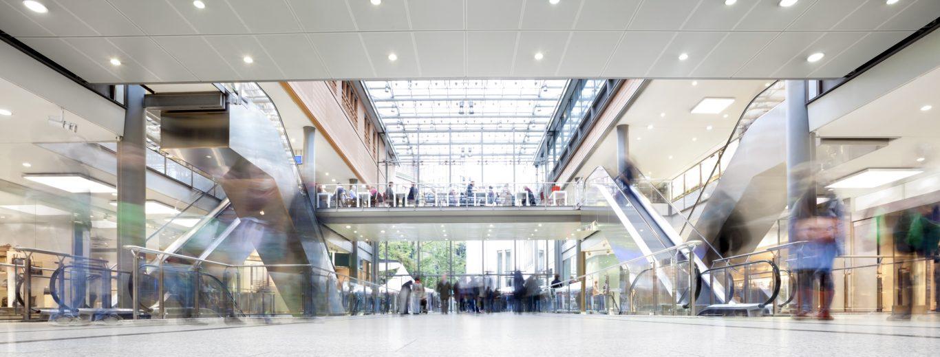 Shopping mall corridor blurred